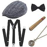 BABEYOND 1920s Mens Gatsby Gangster Costume Accessories Set 30s Manhattan Fedora Hat Suspenders (Set-12)