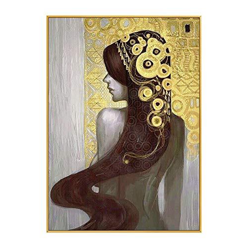 SUMIANYH 100% Handbeschilderde olieverfschilderijen Handbeschilderde olieverfschilderij Amerikaans-Style Corridor Porch Ophangen Schilderij Gouden folie Vrouw Achterlicht Luxe Verticale Woonkamer Muurdecoratie Schilderij 40×60cm