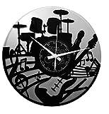 Instant Karma Clocks - Reloj de Vinilo Doble de Pared,, Hecho a Mano, Guitarra, música, Teclado con batería, Color Plateado, Vintage