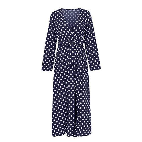Jurk Vintage Party Vrouwen Jurk Polka Dot Wrap Casual Elegante Boog Split Maxi Jurken Lange Winter Jurk Plus Size