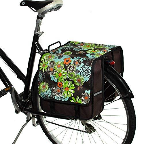 BikyBag Clasic L - Doble Alforjas Bolsa para Bicicleta Mujer - Hombre (Las Flores)