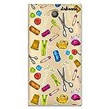 Dakanna Funda compatible con [ Sony Xperia L2 ] de Silicona Flexible, Dibujo Diseño [ Patrón utensilios costura y confección ], Color [Fondo Transparente] Carcasa Case Cover de Gel TPU para smartphone