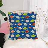 Purer Weicher Kissenbezug Kissenhülle Set,Kindergarten, lebendige farbige Fische auf einem...