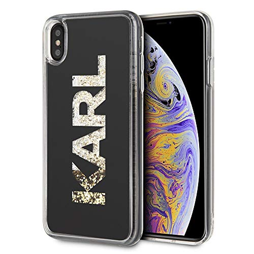 Karl opslagveld KLHCI65KAGBK Karl Logo Glitter voor iPhone XS Max, zwart