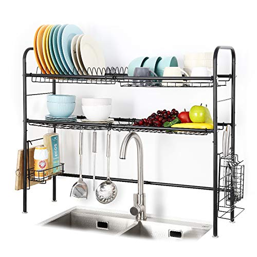 2 Tier Large Over the Sink Dish Drying Rack, 304 Stainless Steel Dish...