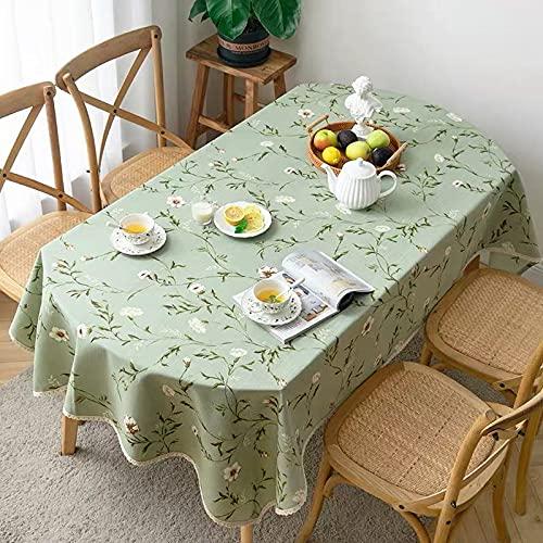 Mantel Ovalado con Estampado Moderno, Mantel de algodón, Lino, café, té, Mantel con Encaje, decoración para el Exterior del hogar, T 140x240cm