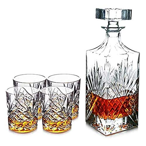 TRPYA Juego de Regalo de la decantación de Vino de 750 ml, decantador de Cristal Libre de Plomo con 4 Gafas de Whisky, para Vino, Whisky decan, decantador de licores, escocés