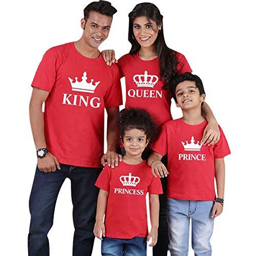 Camisetas Familiares King Queen Princess Camiseta Familiar Padre Madre Hijo Mama Papa Hija Camisetas Estampadas Divertidas para Familia Personalizadas Camisas Hombre Mujer Niño Niña Tops Rojo XL