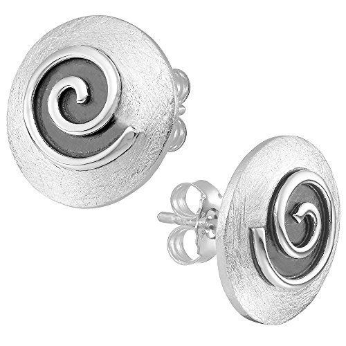 Vinani Ohrstecker gewölbt gebürstet Spirale schwarz emailliert Sterling Silber 925 Ohrringe 2OSG