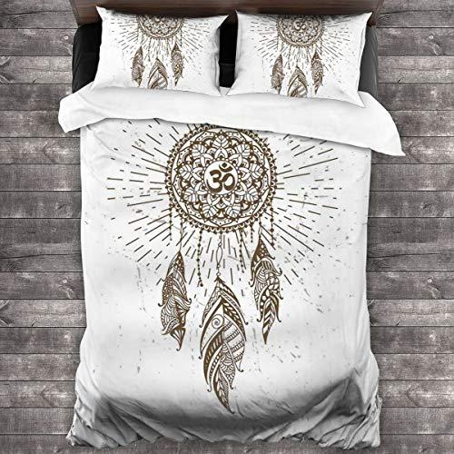 BEITUOLA Juego de Funda nórdica,Atrapasueños de Estilo Dibujado a Mano con Mandala Antiguo símbolo Espiritual Hippie,1 Funda de Edredón y 2 Fundas de Almohada 240 x 260cm