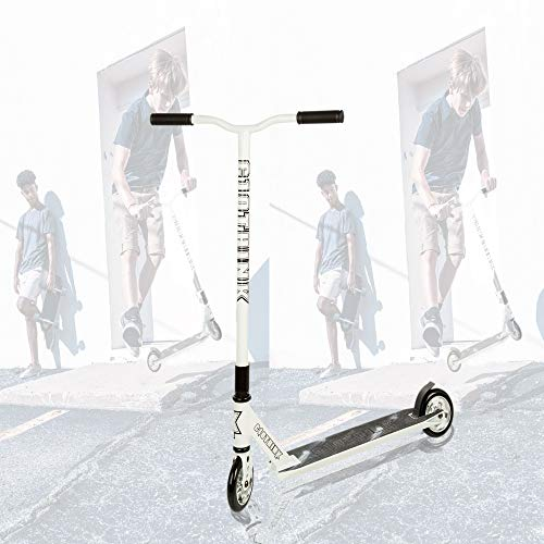 Clothink Stunt Scooter Weiß- High End Pro - Funscooter Stunt Roller mit ABEC 9,110 mm PU Räder, bis 100 kg, Kickscooter für Kinder Erwachsene ab 7 Jahren(für 110cm bis 185cm)