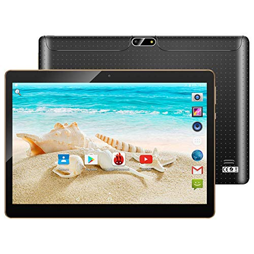 10.1' Inch Android 7.0 Tablet PC,3G Unlocked Phablet 4GB RAM 64GB Storage with Dual sim Card Slots and Cameras,Tablet PC with WiFi,Bluetooth,GPS (Black)