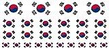 Mini Aufkleber Set - Pack glatt - 4x 51x31mm+ 12x 33x20mm + 10x 20x12mm- Sticker - Südkorea - Flagge - Banner - Standarte fürs Auto, Büro, zu Hause & die Schule - Set of 26
