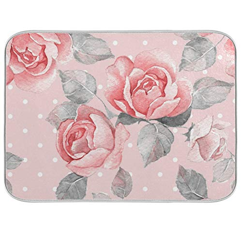 Alfombrilla absorbente para secar platos con diseño de rosas rosas rosas rosadas y lunares con soporte para colgar para encimeras de cocina, fregaderos, frigorífico, 40,6 x 45,7 cm