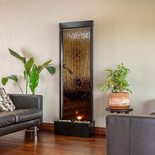 Bronze Mirror Waterfall Fountain 72-inches Black Modern Contemporary Metal Stainless Steel