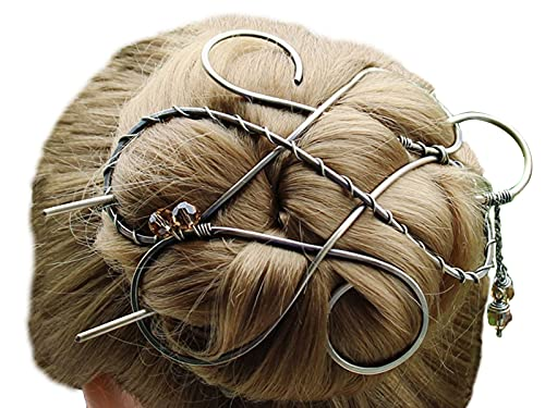 Silver Celtic Hair Clip Metal Hair Clip Large Bun Holder Hair Fork Long Thick Hair women Christmas Gift