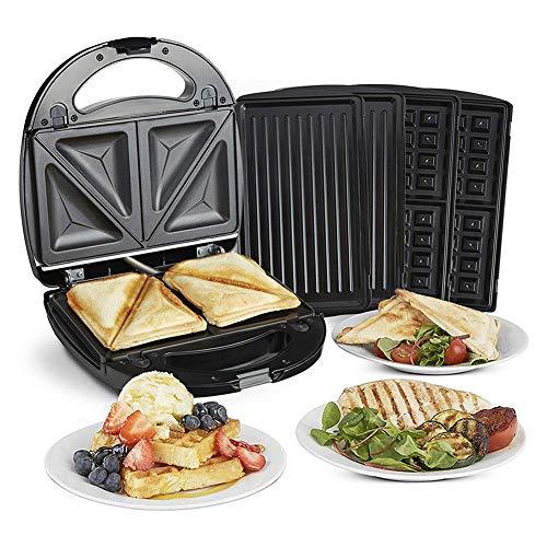 YXY-Tech Sandwichmaker, 3 in 1 multifunctionele sandwichmaker, wafelijzer, contactgrill met 3 verwisselbare platen met 3 verwisselbare aluminium grill antiaanbakplaat/grill voor toasties/panini Waffelplatte + Grillplatte + Schalenplatte