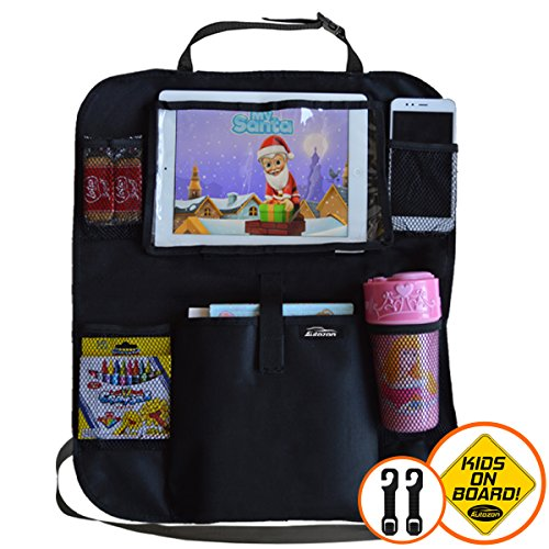 Autozon Car Backseat Organizer  Kick Mat Back Seat Protector with iPad/Tablet Holder Kids Toy Storage Bag and Baby Travel Accessories Pockets Free Extra Car Headrest Organizer Hooks  Car Sticker