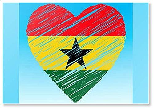 Kühlschrankmagnet Ghana Flagge Herzform Grunge Style