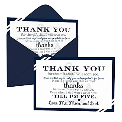 Nautical Baby Shower Thank You Cards with Envelopes (15 Pack) Ahoy Anchor Themed Supplies – Navy Blue – Thanks from Baby Boy – A6 Flat Stationery Set Printed (4 x 6 inches) by