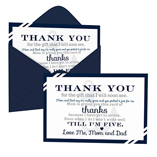 Nautical Baby Shower Thank You Cards and Envelopes (15 Pack) – Boys Anchor Party Supplies - A6 Flat Stationery Set – Blue Grey