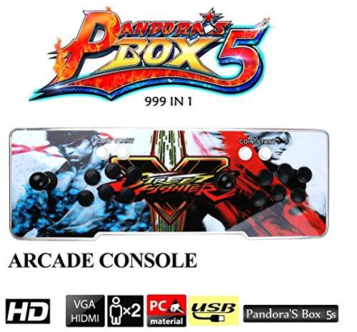 MEANS Pandora's Box 5S Arcade Game Console 999 en 1 kit de jeux vidéo TV avec 2 boutons Joystick Pièces d'alimentation Sorties HDMI et VGA et USB
