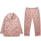 DFDLNL Pijamas de Invierno Pijamas de Mujer Chaqueta Acolchada de Franela Gruesa Chaqueta de Invierno de Tres Capas Coral Velvet Acolchado Monos L.