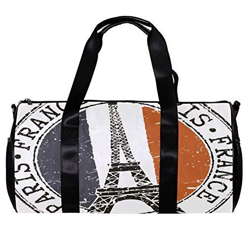 Runde Sporttasche mit abnehmbarem Schultergurt, Gummi-Stempel mit Eiffelturm und französischer Flagge, Trainings-Handtasche für Damen und Herren