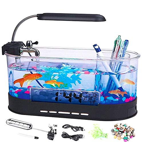 Multifunktions-Aquarium, Multifunktions-USB-wiederaufladbare Mini-Aquarium Aquarium mit Uhrfunktion LED-Licht und LCD-Digitalanzeige für Office Living Room Decor(Schwarz)