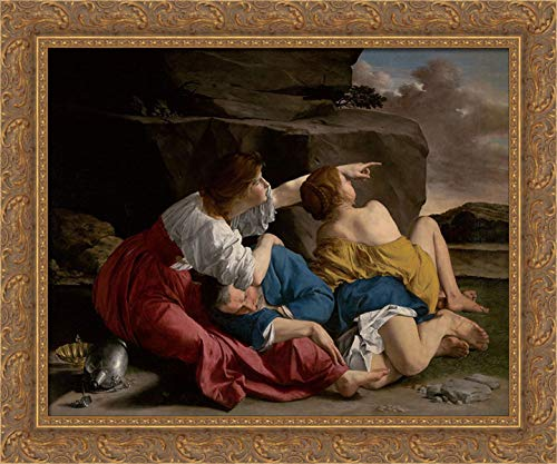Gentileschi, Orazio 24x20 Gold Ornate Framed Canvas Art Print Titled: Lot and his Daughters
