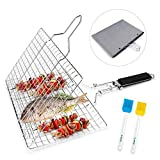 E-More BBQ Grilling Basket, Portable Foldable Stainless Steel Barbecue Grill Basket for Roast Fish Vegetables Shrimp Steak, with Detachable Wooden Handle, 2 Basting Brushes & Storage Bag, 32x22cm