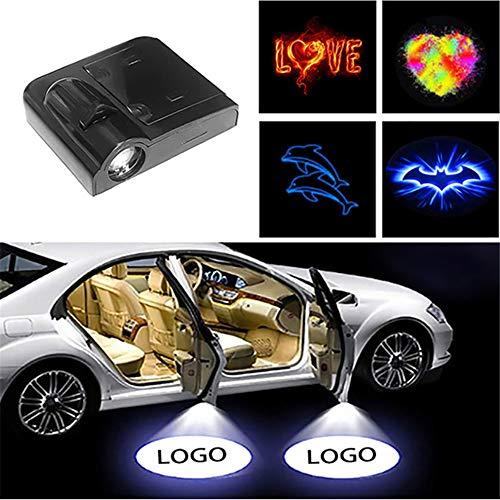 4 piezas de cableado de coche puerta lámpara de bienvenida lámpara de proyección de coche lámpara led proyector de coche con patrón de texto de foto personalizado