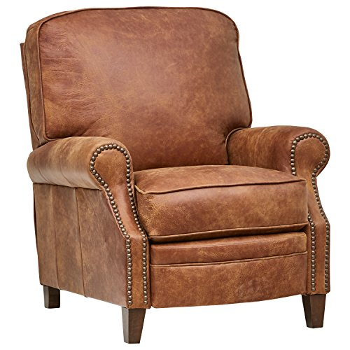 Amazon Brand – Stone & Beam Jameson Farmhouse Leather Recliner, 36'W, Saddle Brown