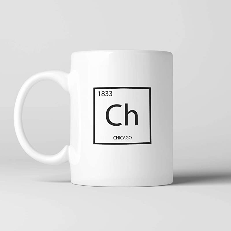 Chicago Element Coffee Mug Cup Science Stylish Ceramic Mug Tea Cocoa Chicago Cubs Chicago Bears Illinois Windy City