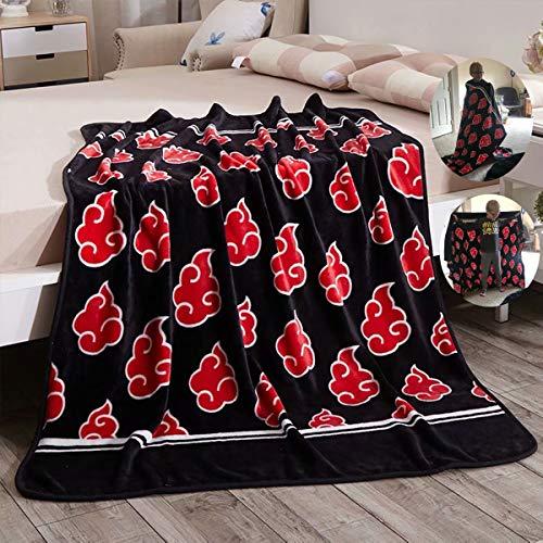 Fancrout Na-ruto Red Akatsuki Cloud Throw Blanket Anime Coral Fleece Blankets Soft 60'x80'