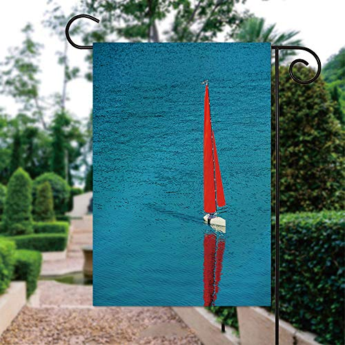 ALUONI Garden Flags, Radio Remote Control Rc Sailing Yacht Boat Simulation Model Yard Holiday and Seasonal Decorative Flags Garden Outdoor Decorative - 12 x 18 in IS104126
