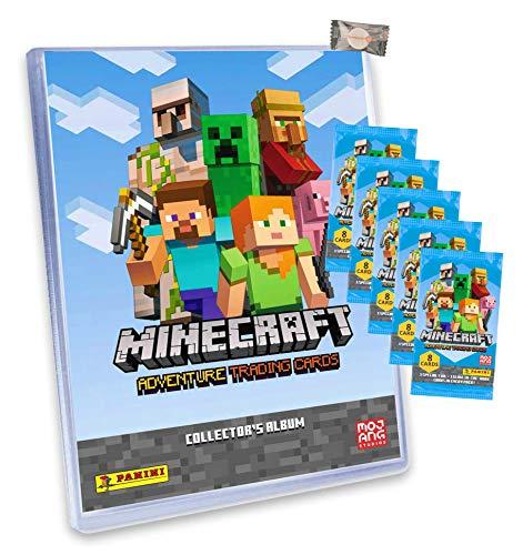 ★ Minecraft Karten Adventure - Minecraft Trading Cards (2021) - 1 Sammelmappe + 5 Booster + stickermarkt24de Gum