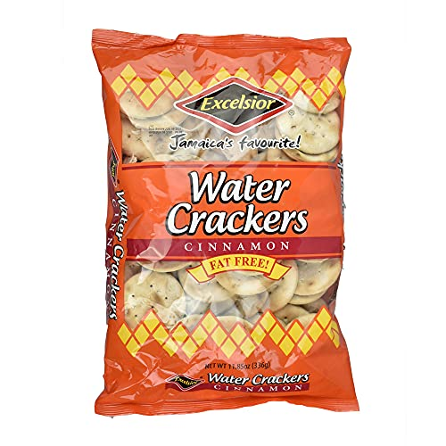 Excelsior Water Crackers Cinnamon FAT FREE Jamaica's Favorite (Pack of 3 at 11.85oz Each)