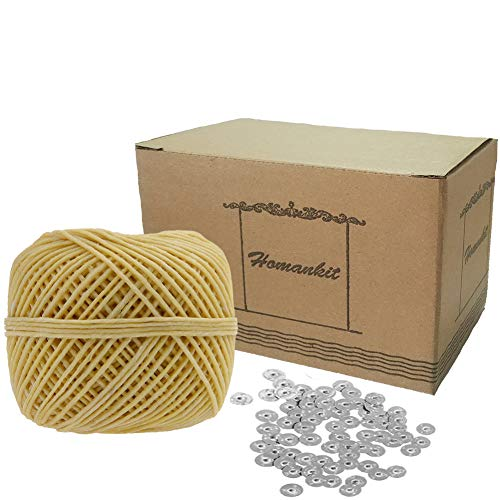 Homankit 200ft Spool Beeswax Hemp Candle Wick,100 pcs Candle Wick Sustainer Tabs| 1mm in Diameter Pre Bees waxed wicks for Candle Making/Candle DIY