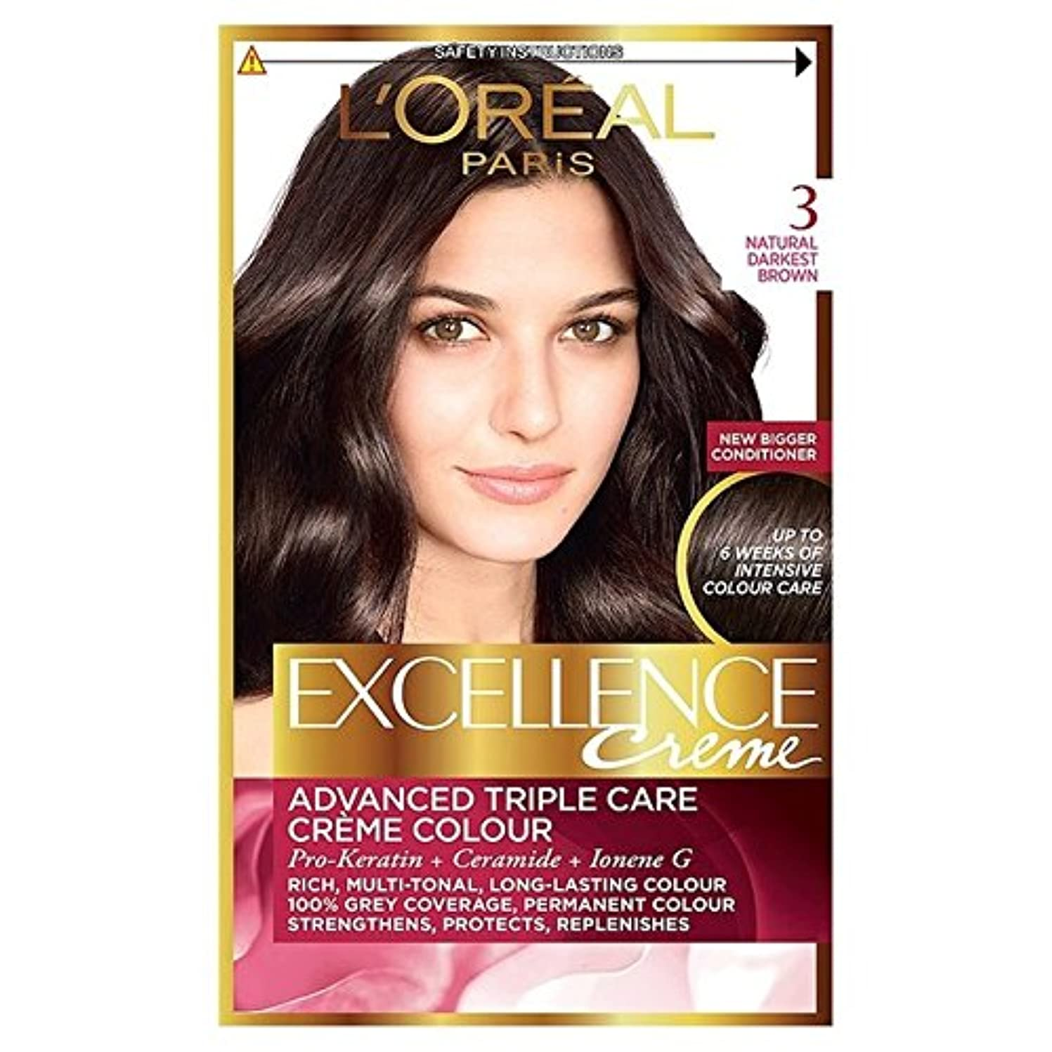 L'Oreal Excellence Natural Darkest Brown 3 (Pack of 6) - ロレアルの卓越性、自然最も暗い茶色3 x6 [並行輸入品]
