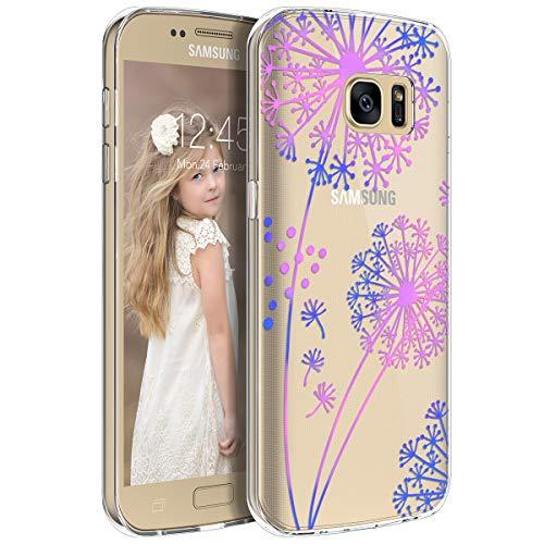 Yokata Funda para Samsung Galaxy S7 Transparente Carcasa Silicona Ultra Fina Suave TPU Gel Bumper Case Protección Anti-Golpes Anti-Choque con Dibujos Shell Cover - Diente de león