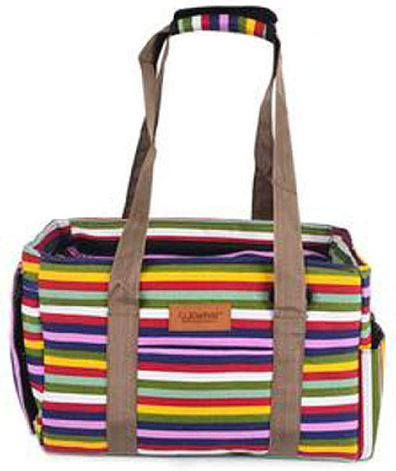 Guyuexuan Pet Carrier, Airline Approved Soft Animal Carrier, Portable Soft Air Travel Bag, Best for Small and Medium Dogs and Cats Pet Travel Essentials (color   Rainbow Stripes)