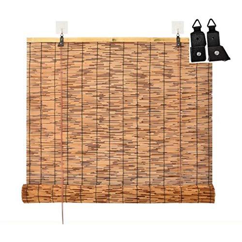 Persianas enrollables de ventana natural, cortina enrollable de bambú de caña romana, persianas retro impermeables con elevación, parasol / aislamiento térmico, para interior, exterior,patio,jardín.