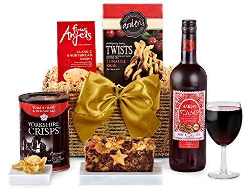 Clarendon Hamper With Red Wine - Hand Wrapped Gourmet Food Basket, in Gift Hamper Box