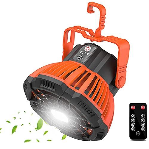 Aney Well Ventilador de camping, recargable por USB, 5200 mAh, portátil, silencioso, con luz LED, mando a distancia, gancho para oficina, camping, viajes, barbacoa, pesca