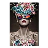YWOHP Moda Belleza Chica Retrato Cartel nórdico decoración del hogar Gafas de Sol Florales Lienzo Pintura Sala de Estar impresión Imagen de pared-40x50cm_No_Framed_1
