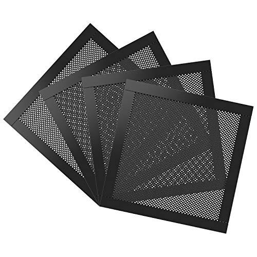 MoKo 140mm Filtre de Ventilateur Anti-Poussière PVC pour Ordinateur (4 Pièces), Ventilation Réseau PC avec Cadre Magnétique, Aimant - Noir