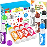 Washable Dot Markers for Toddlers Kids Preschool, 10 Colors 2 oz Kids Markers Set with 48 Pages Tearable Activity Book for Toddler Arts and Crafts Kits Supplies, Non-Toxic Water-Based Paint Dauber