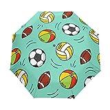 JinDoDo - Paraguas plegable automático para fútbol, voleibol, rugby, pelota de lluvia, resistente al viento, protector solar para viajes, para mujeres, hombres, niñas y niños