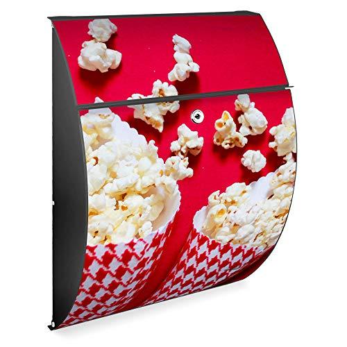 Burg Wächter Design Briefkasten | Riviera 46x33,5x13cm groß | verzinkter Stahl Anthrazit | Postkasten mit Öffnungsstopp, großer A4 Einwurf, Zylinderschloss, 2 Schlüssel | Motiv Popcorntüten